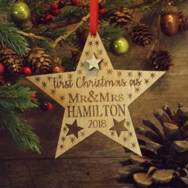 First 1st Christmas as Mr & Mrs Married Personalised Star Decoration Gift